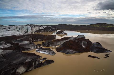 Lagune mit Eisbergen