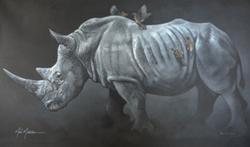 "Flight for Rhinos 30""x48"" SOLD"