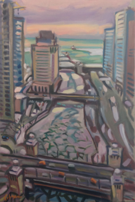 "Chicago River II 24""x36"" $3,900"