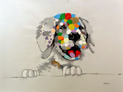 """My Colorful Pup"" 36"" x 48"", $2,495"
