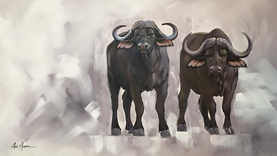 """Cape Buffalo Duet, 30""""x48"""" $6,800"""