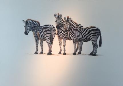"Three Zebra, 36""x48"" $6,800"