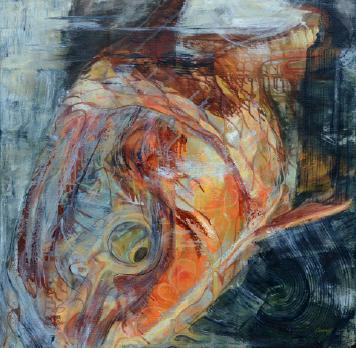 "Carp Abstract 36""x36"" $3,900"