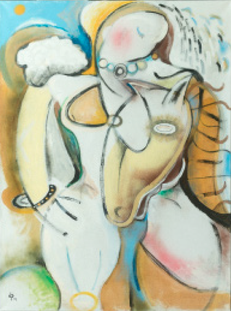 "Woman with Horse 36""x48"" $4,100"
