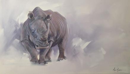 "One Rhino, 30""x48"" $7,200"