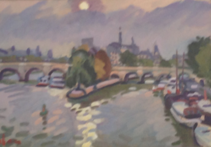 "View of Pont Neuf 24""x30"" $3,200"