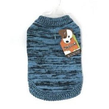 Tricot en acrylique bleu rayé Doggie-Q Sweater