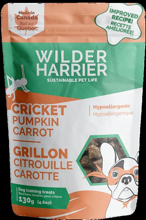 Gâteries Wilder Harrier grillon, citrouille et carotte 130gr