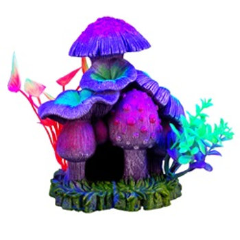 Ornement iGlo Marina, maison en champignons avec plantes (5,25 po)