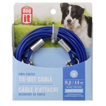 Câble d'attache moyen chien 15pi DogIt