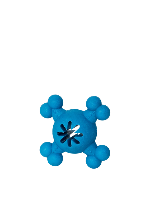Jouet de caoutchouc croix, centre perforé bleu Bud'z