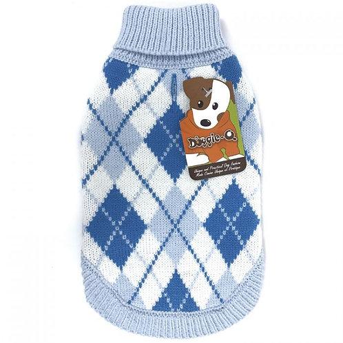 Tricot en acrylique bleu à carreaux Doggie-Q Sweater