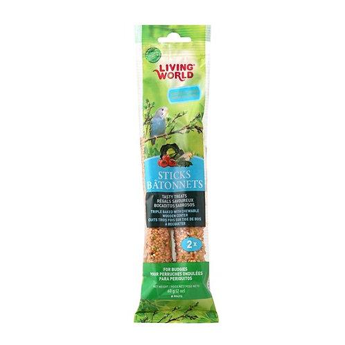 Bâtonnets (2) saveur de légumes pour perruches ondulées Living World 60gr