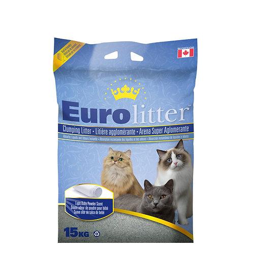 Litière EuroLitter parfum poudre à bébé 15kg