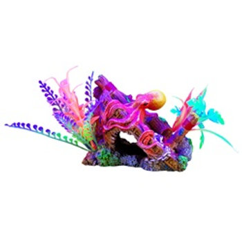 Ornement iGlo Marina, épave et pieuvre avec plantes (5,5 po)
