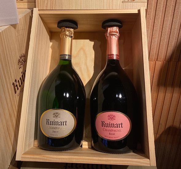 Caisse bois 2 bouteilles ruinart brut et rosé
