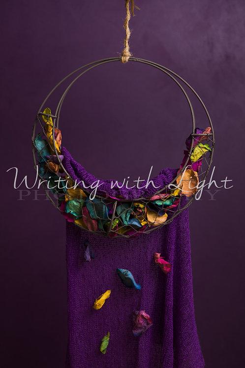 Rainbow petal swing drape
