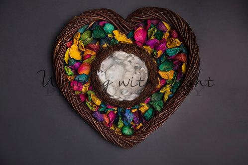 Rainbow petal heart wreath