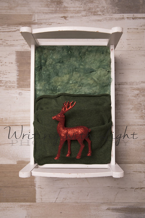 Green Christmas bed with reindeer