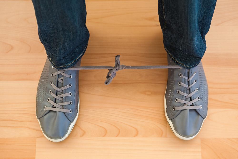 Ye ole tied shoe lace prank - April Fools!!!