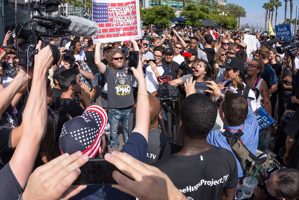 Protesters clash at Trump Rally at San Diego Convention Ctr 5.27.16 - image courtesy of iStock