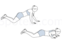 Staggered arm alternating knee pushups