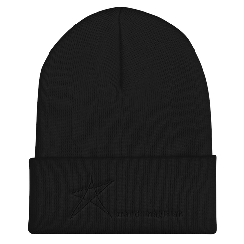 Black Embroidered Logo Cuffed Beanie