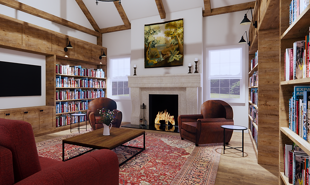 Private Residence Libary Rendering