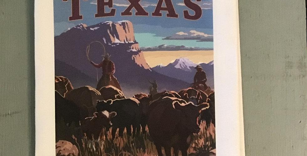 Texas Cattle Drive Dish Towel