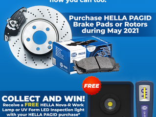 FREE Nova-R Work Lamp or UV Form LED Inspection Light with your HELLA PAGID Purchases!