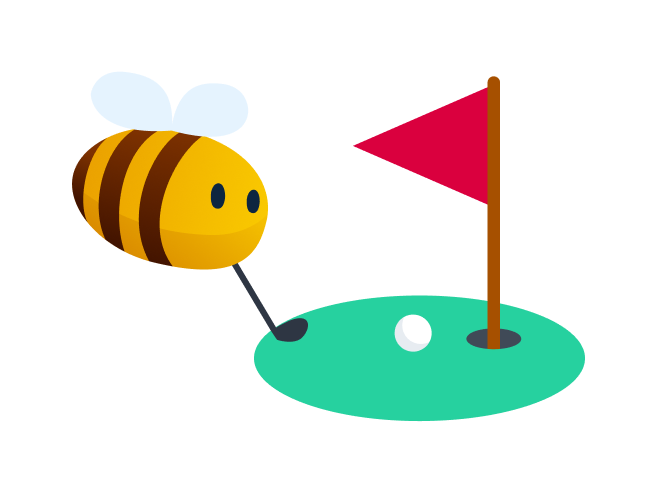 outdoor activities - bee playing miniature golf