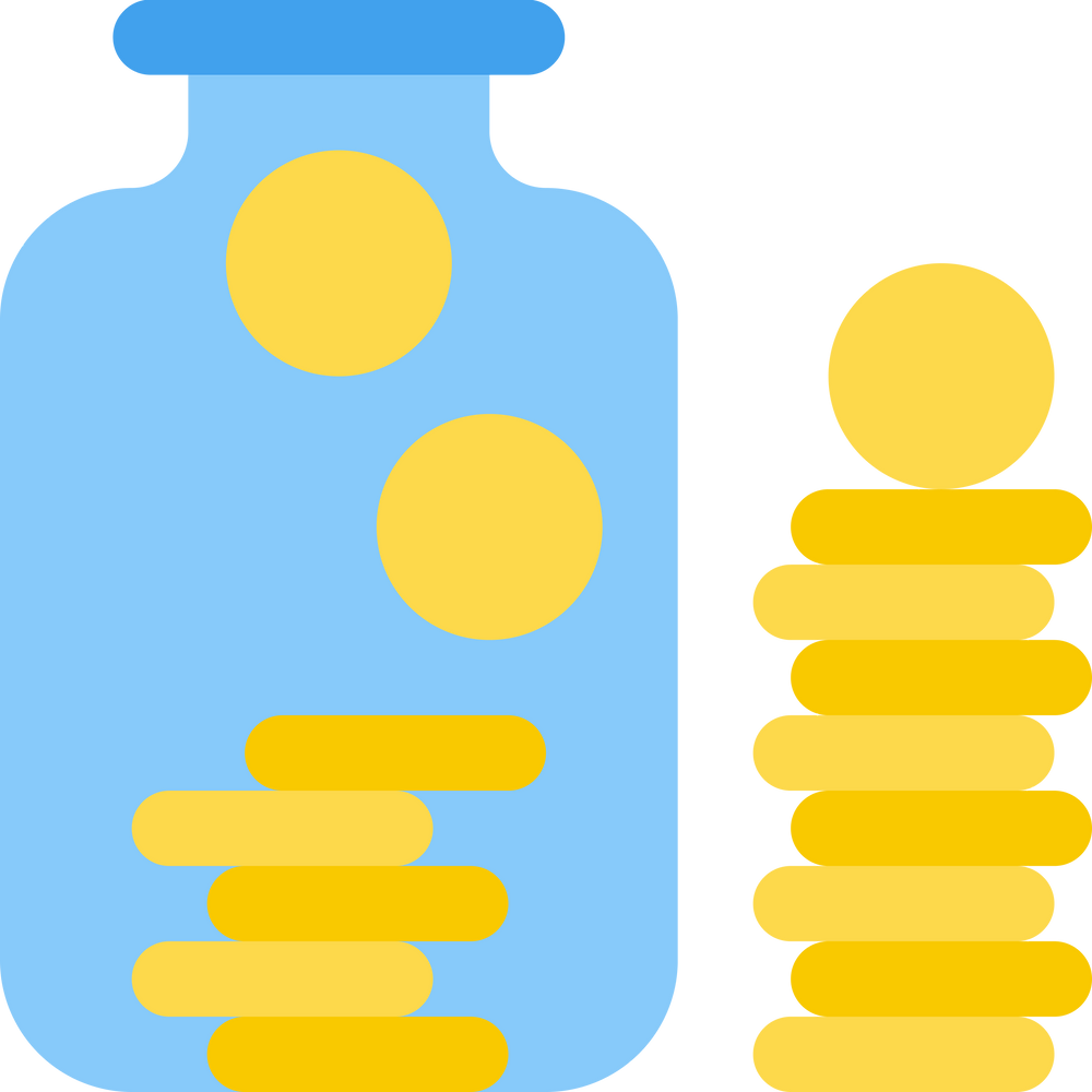 Personal Finance Books: saving coins in a jar