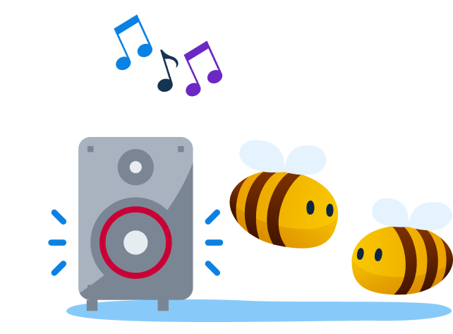 music streaming service - bees listening to a music speaker
