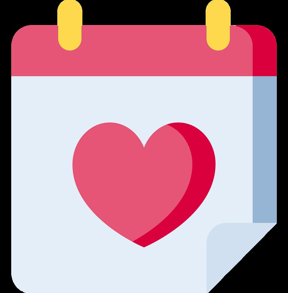 Fun Date Ideas: calendar with a romantic date marked