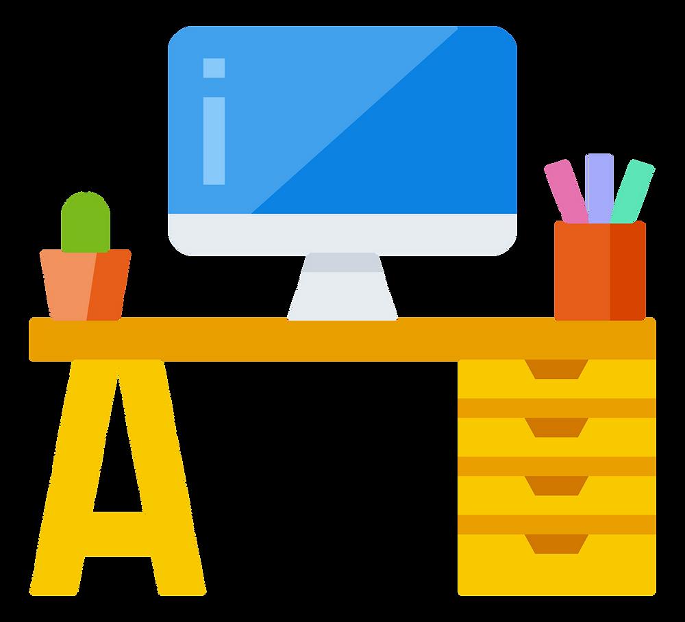 freelance jobs: the desk of a freelancer