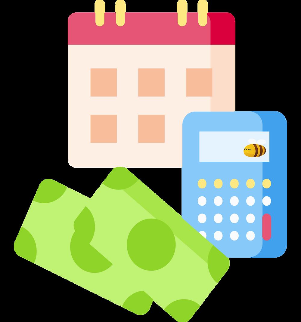 financial plan: a calculator, a calendar, and some money