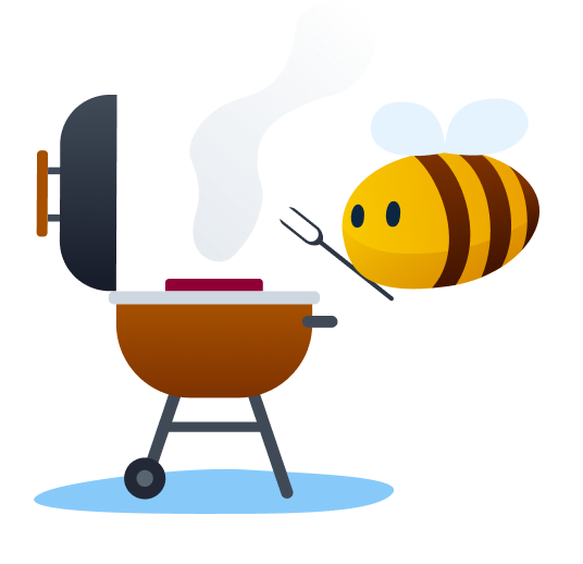 outdoor activities - bee grilling meat