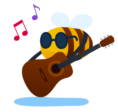 music streaming service - bee in sunglasses playing guitar