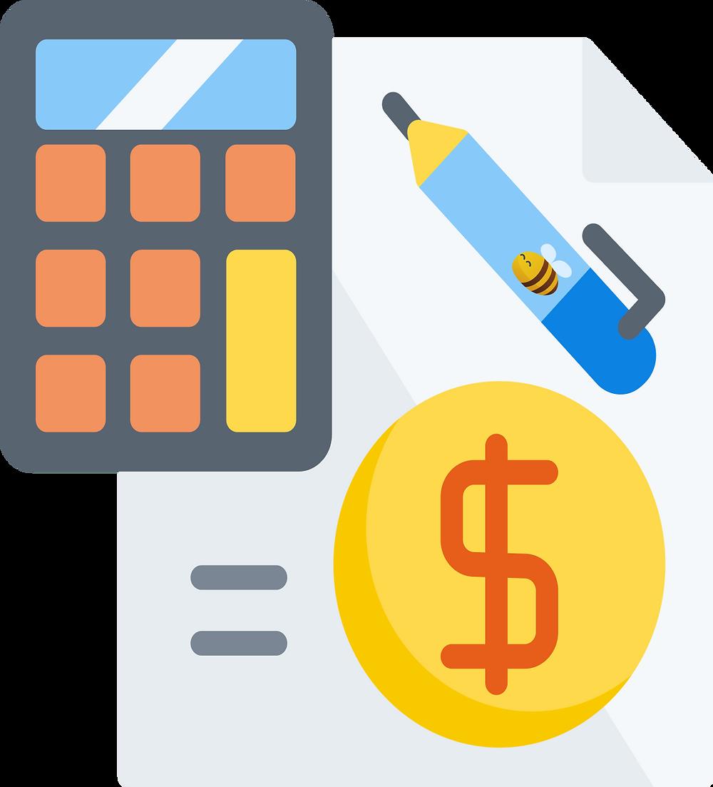a financial plan, a pen, and a calculator