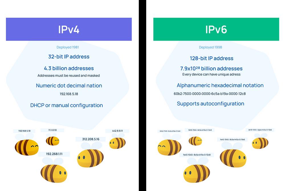 IP address - IPv4 vs IPv6 comparison