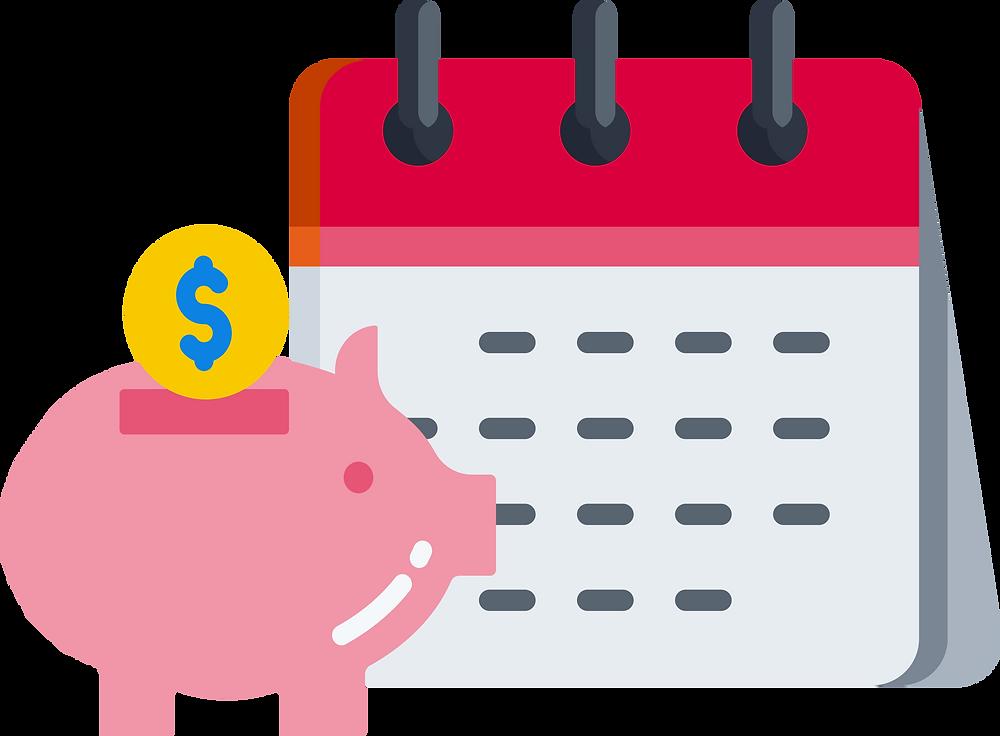 No-Spend Challenge: a piggy bank next to a calendar