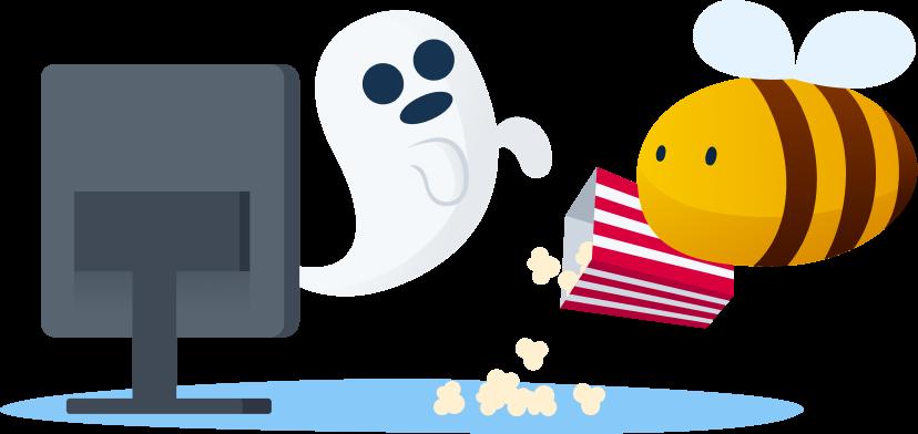 video streaming platform - bee watching a horror movie