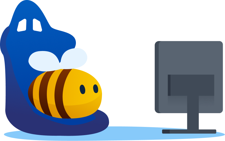 video streaming platform - bee watching a show on tv