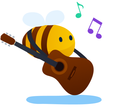 music streaming service - bee playing the guitar