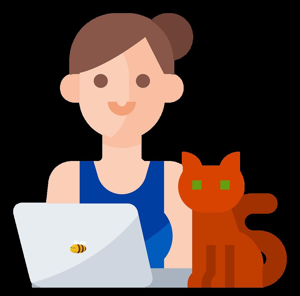 freelance jobs: a freelancer with a cat