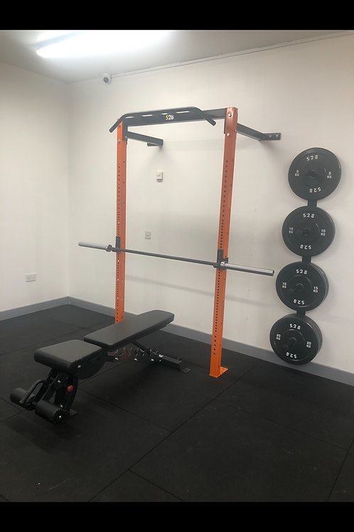Wall Rack + Barbell + 100kg Bumper Plates