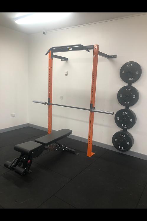 Wall Rack + Bench +Barbell + 100kg Bumper Plates