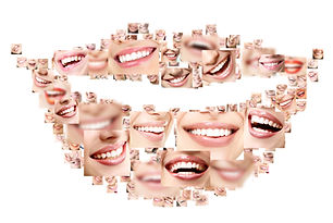 Smile collage of perfect smiling faces c