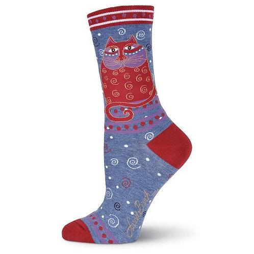 "Laurel Burch Socks ""Crimson Cat"" Denim"