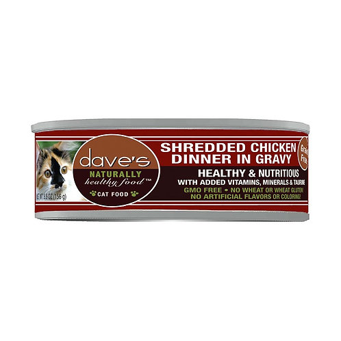 Dave's Naturally Healthy Grain-Free Shredded Chicken Dinner in Gravy - 5.5 oz